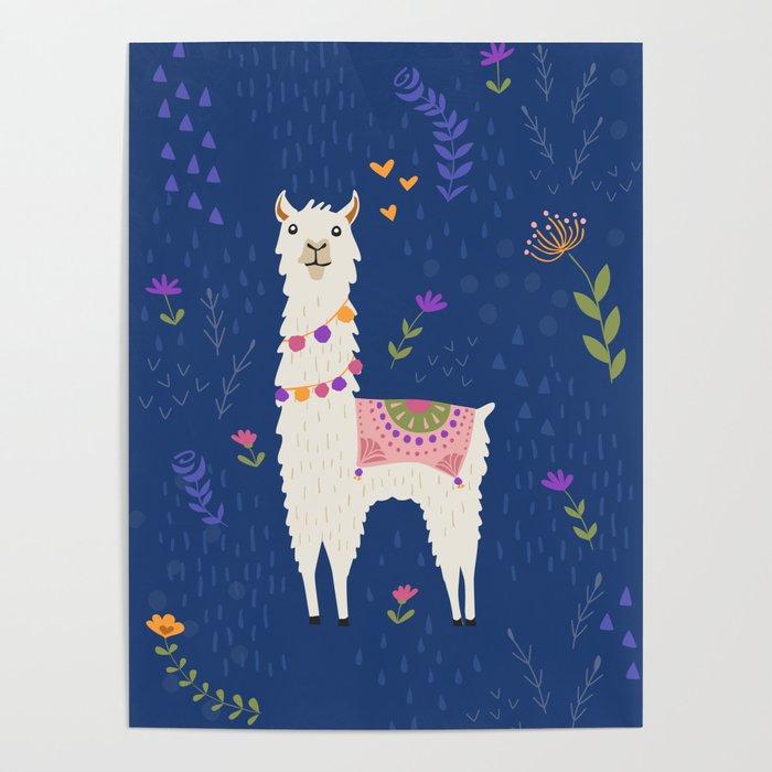 Llama on Blue Poster