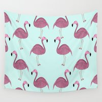 flamingo Wall Tapestries featuring Flamingo by Frida Strömshed