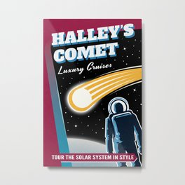 Halleys Comet Retro Space Travel Illustration Metal Print