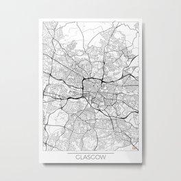 Glasgow Map White Metal Print
