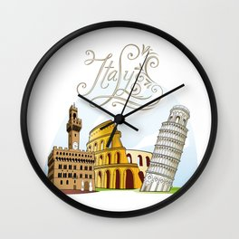 Italy with significant buildings Wall Clock