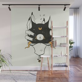 Two Headed Black Cat In Witch Hand Wall Mural