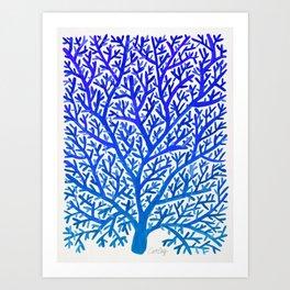 Fan Coral – Blue Ombré Art Print