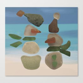 Finding Unexpected Sea Glass at the Beach #snowman #seaglass Canvas Print