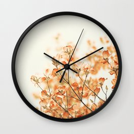 Orange Apricot Peach Coral Salmon Flower Photography, Floral Spring Tree Branches Wall Clock