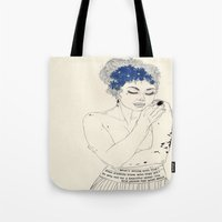murakami Tote Bags featuring You Are An Empty Vessel by Kaethe Butcher