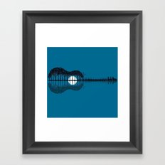 Trees sea and the moon turned guitar Framed Art Print