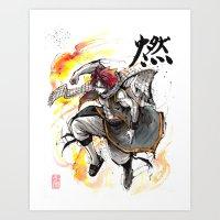 Natsu from Fairy Tail sumi/watercolor Art Print
