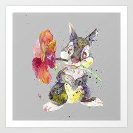 Bunny With flower Art Print