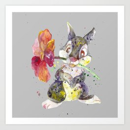 Bunny With flower Art Print