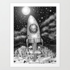 Running Away From Home In A Rocket Ship Art Print