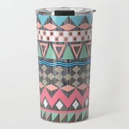 Vintage Wood Aztec, Andes Teal & Pink Abstract Pattern Travel Mug