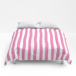 Pink and White Cabana Stripes Palm Beach Preppy Comforters