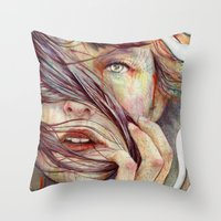 hair Throw Pillows featuring Opal by Michael Shapcott