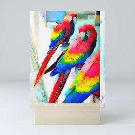 Macaw Trio Photowatercolor Mini Art Print