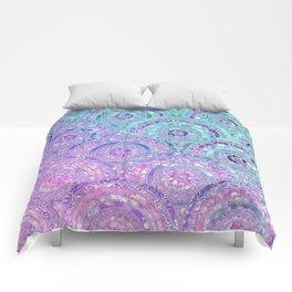 Aqua Blue Purple and Pink Sparkling Glitter Circles Comforters