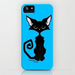 Black Cat - Cool Blue iPhone Case