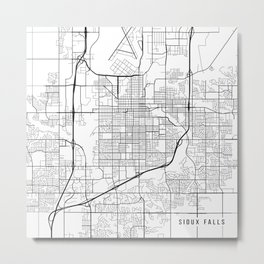 Sioux Falls Map, USA - Black and White Metal Print