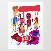Super hero mash up  Art Print