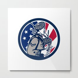 American Bagpiper USA Flag Icon Metal Print
