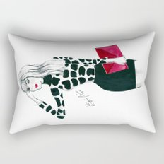 Giraffe Print Fashion Model Watercolor Rectangular Pillow