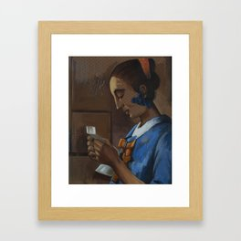 After: Woman in Blue Reading a Letter. Framed Art Print