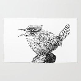 Wren bird ink painting Rug