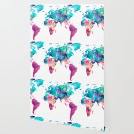 World Map Turquoise Pink Blue Green Wallpaper