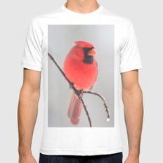 A Cardinal In A Snow Fall MEDIUM Mens Fitted Tee White