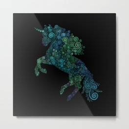 Green and Blue Unicorn Filix Metal Print
