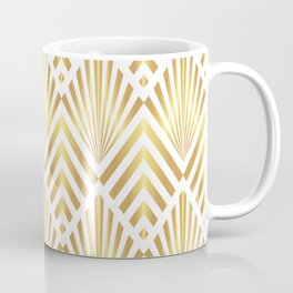 Gold art deco diamonds on white Coffee Mug