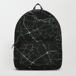 Dublin Street Map Black and Lime Green Backpack