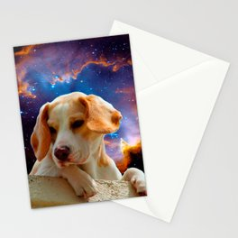 beagle puppy on the wall looking at the universe Stationery Cards