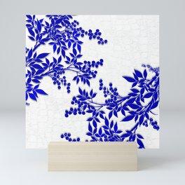 BLUE AND WHITE  TOILE LEAF Mini Art Print