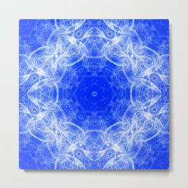 Fractal lace mandala in blue and white Metal Print
