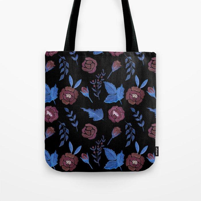 Watercolor floral red roses print on black Tote Bag