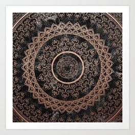 Mandala - rose gold and black marble Art Print