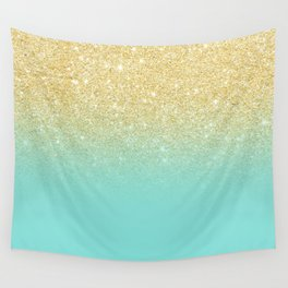 Modern chic gold glitter ombre robbin egg blue color block Wall Tapestry
