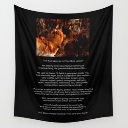 TWO WOLVES CHEROKEE TALE Native American Tale Wall Tapestry