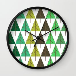 Seamless pattern. Christmas tree. Wall Clock