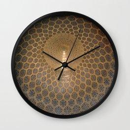 Persian Art Ceiling Mosaic Pattern Sheikh-Lotfollah Mosque, Iran Wall Clock