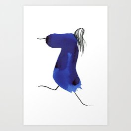 How to be a girl #8 -minimalist girl in bright blue ink Art Print