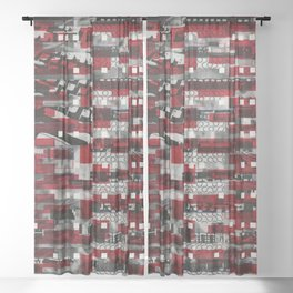 Nothing Is Accomplished (P/D3 Glitch Collage Studies) Sheer Curtain
