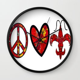 Red & Yellow Peace Love and Crawfish Design Wall Clock
