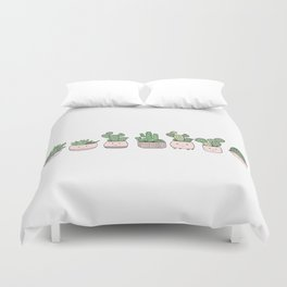 Happy succulent cactuses Duvet Cover