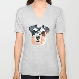 Schnauzer Colorful Dog Illustration Unisex V-Neck