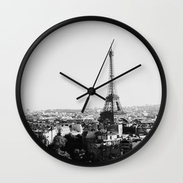 Paris City Sky // Eiffel Tower City Landscape Photography Shot from the top of Champs Elysees France Wall Clock