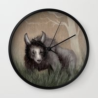 beastie boys Wall Clocks featuring Forest Beastie by Mr Patch