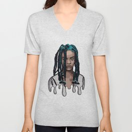 Rihanna Digital Drawing Unisex V-Neck