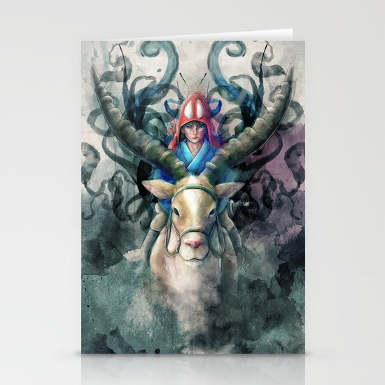 Ashitaka Demon Watercolor Digital Painting Stationery Cards